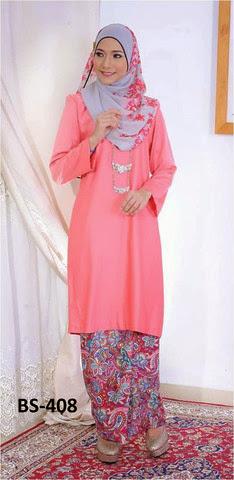 Baju Raya 2014 Mini Kurung Malaysia Pink Merah Jambu