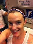 On the train, showing off my patriotic Sparkly Soul headband!