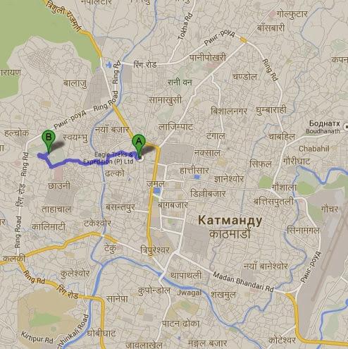 Карта Катманду с достопримечательностями: Сваямбху, или Храм Обезьян. Как добраться с Тамеля?