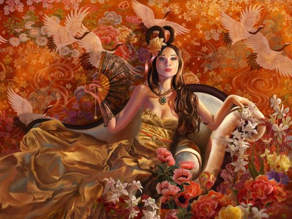 Girl On The Floor Of Flowers, Magic Beauties 3