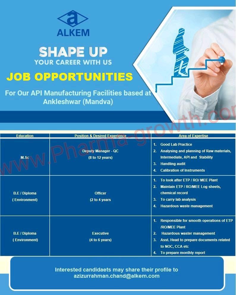 Alkem Laboratories Ltd – Job Opportunity  Quality Control @ Ankleshwar