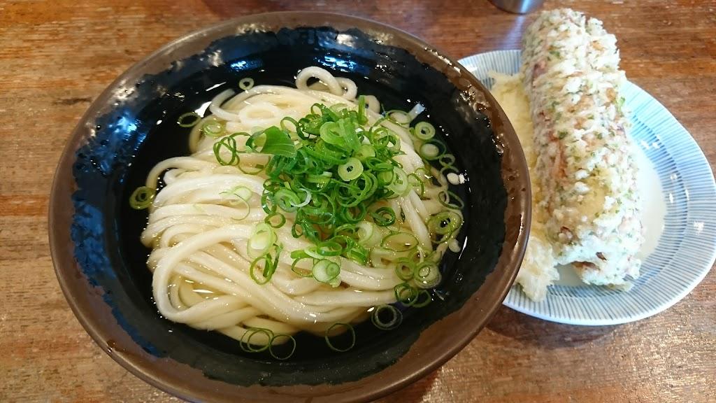 中村うどんのひやあつ大と天ぷらの写真