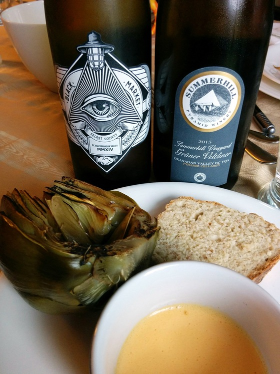 Black Market 2014 Secret Society White & Summerhill 2015 Gruner Veltliner with Braised Artichokes