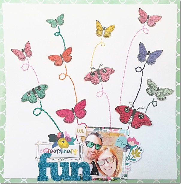 Scrapbook Layout - Fussy Cutting e Hand Stitching