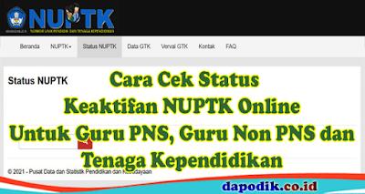 Cara Cek Status Keaktifan NUPTK Online Untuk Guru PNS, Guru Non PNS dan Tenaga Kependidikan