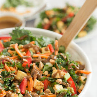 Thai Peanut Kale Salad with Crispy Tofu