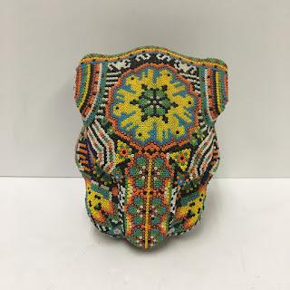 Huichol Mexican Beaded Jaguar Head