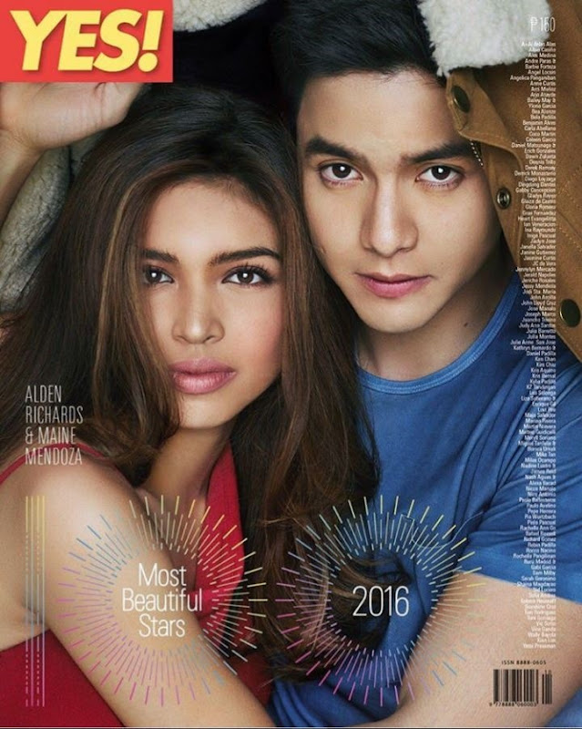 Alden Richards and Maine Mendoza on Yes 100 Most Beautiful Stars cover