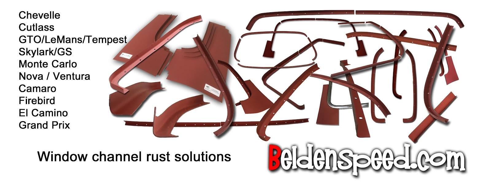 rear window rust repair,window channel patch panels,Chevelle,Monte Carlo,GTO,LeMans,Tempest,Cutlass,Camaro,Firebird,Beldenspeed,Belden Speed & Engineering,F Body,A Body,Skylark,Nova,El Camino,Grand Prix,windshield channel,Second Gen,Gen 2,window channel rust
