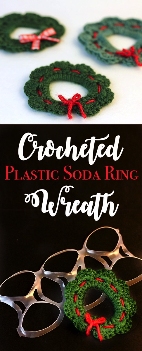 Use an old plastic ring off a six pack to create these super adorable crocheted christmas wreaths.  It is a perfect beginner project since it goes fast and doesn't use any complicated stitches.
