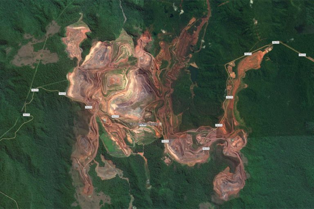 Satellite view of the Carajás Mine in Pará state, Brazil is the largest iron ore mine in the world. Photo: Google Earth