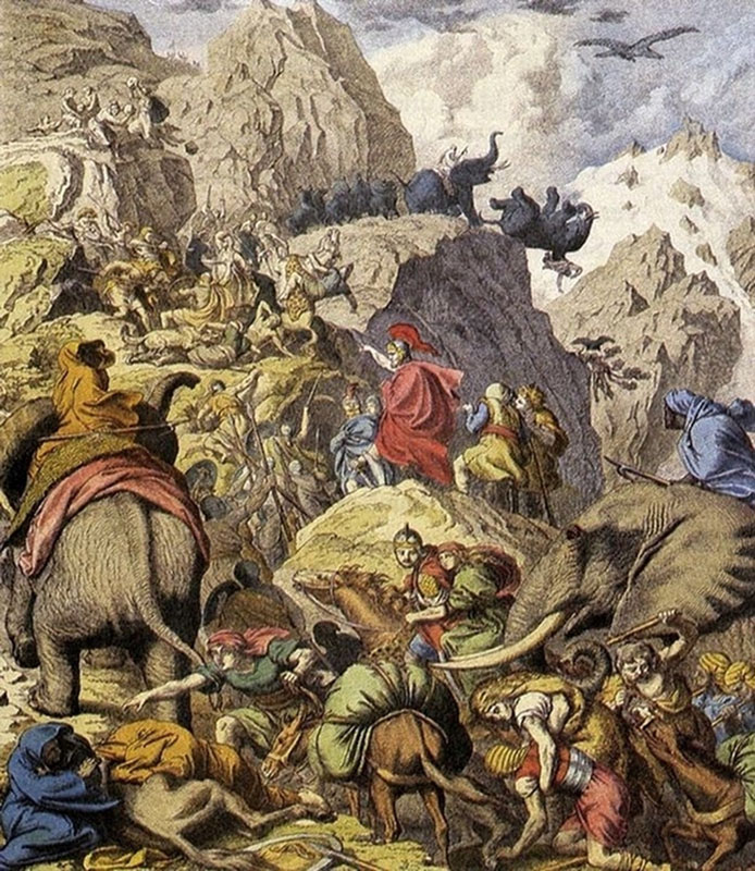 Hannibal's army crossing the Alps.
