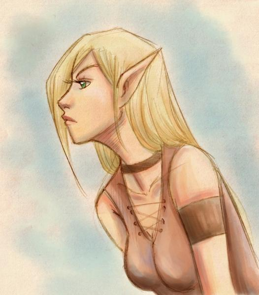 Elven Beauty Colored Sketch, Elven Girls 2