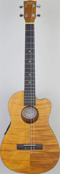 Korala Koa top Cutaway Electrio-Acoustic Baritone at Ukulele Corner