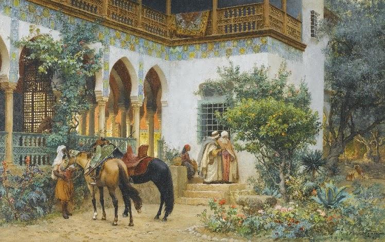 Frederick Arthur Bridgman - A North African Courtyard