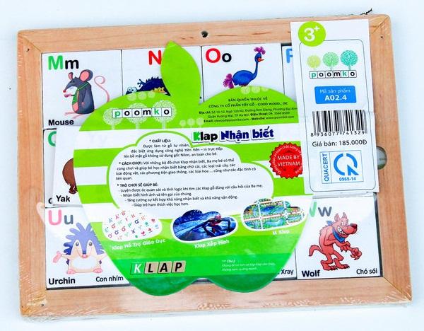 Bảng chữ cái hình động vật bằng gỗ nam châm giúp bé học chữ qua hình ảnh động vật rất bổ ích và lý thú