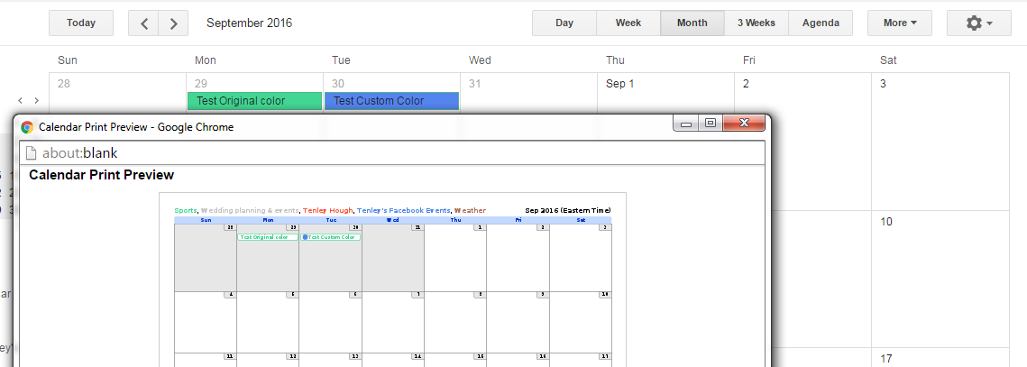 Show In Sea Green Text The Color Of Calendar And Event That Is Blue On My Itself Has A Box Next To It Print Preview