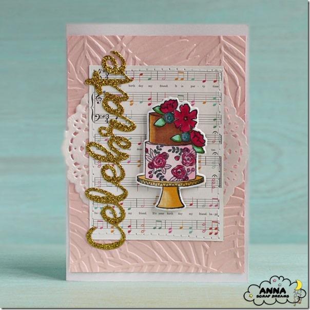 Card con torta fustellata e colorata con i pennarelli