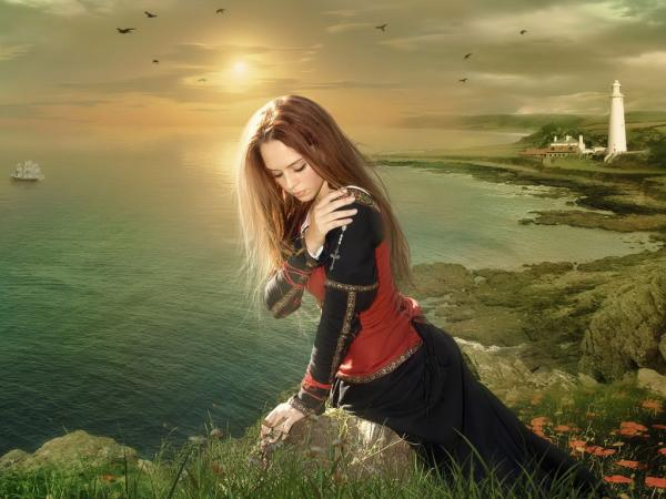 Fantasy girl on river shore voltagebd Images