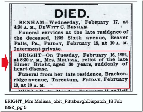 BRIGHT_Mrs Melissa_obit_PittsburghDispatch_18 Feb 1892_pg 5