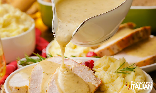 best gravy recipe - pouring from a gravy boat