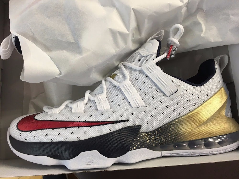 quality design 5498f b6f4c ... Available Now Nike LeBron 13 Low Olympic Gold ...