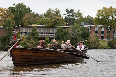 Passing the library as well, RE-ENACTORS ON  BATTOE 'MOON' ON THE HACKENSACK RIVER. Photos by TOM HART/  FREELANCE PHOTOGRAPHER.