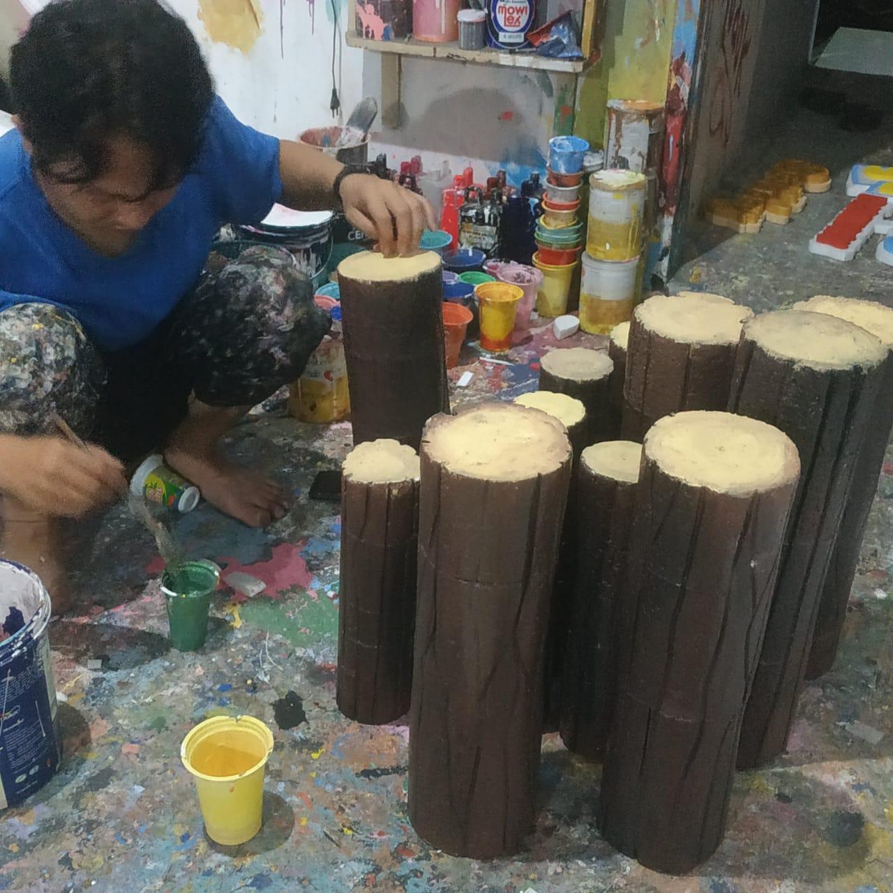 pembuatan batang kayu imitasi dari styrofoam