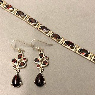 Sterling Silver & Garnet Bracelet & Earring Set