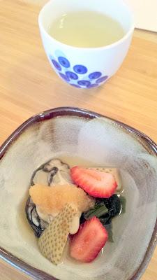 Yurukyara Grand Prix at Nodoguro, a Japanese mascot themed dinner Course 3 Oyster with crushed daikon and strawberry