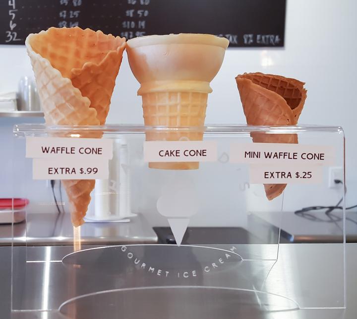 photo of a waffle cone, cake cone, and mini waffle cone