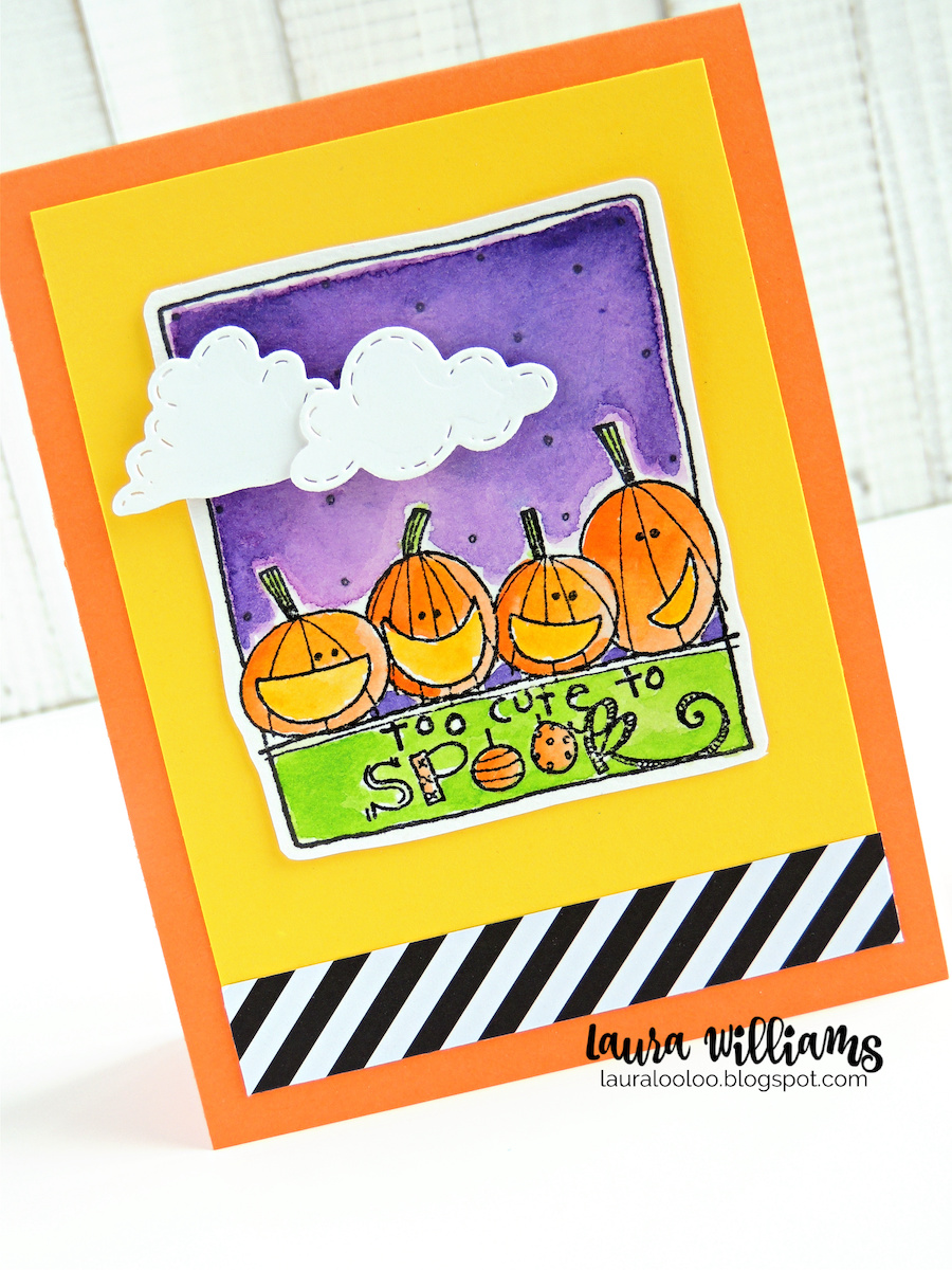 Do you love to watercolor? This Too Cute to Spook stamp is perfect for creating simple Halloween cards because the stamp fills almost the whole card front. I had so much fun watercoloring this image, but you could use markers, colored pencils, or paper-piece it to add color to this sweet stamp.