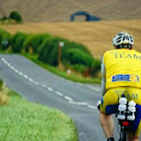 Crew Member Rob Inett cycling on his 112-mile cycle section as part of his non-stop Ironman-distance triathlon to raise money for Marie Curie Cancer Care in memory of fellow Crew Member Paul Singleton 10 August 2014 Photo: Rob Inett Archive