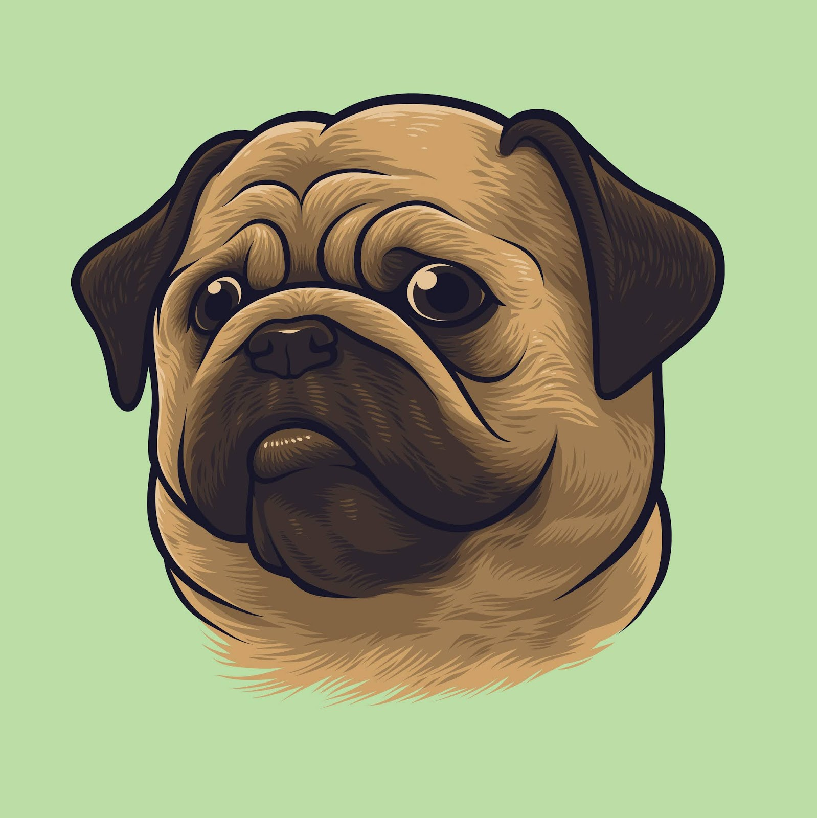 Pug Dog Portrait Free Download Vector CDR, AI, EPS and PNG Formats