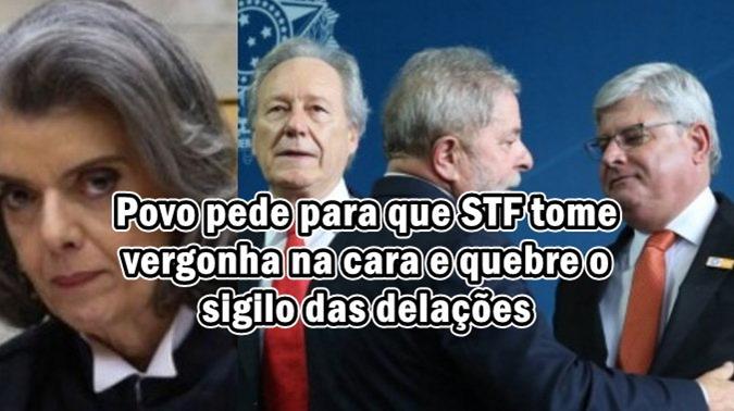 Povo pede para que STF tome vergonha na cara e quebre o sigilo das delações