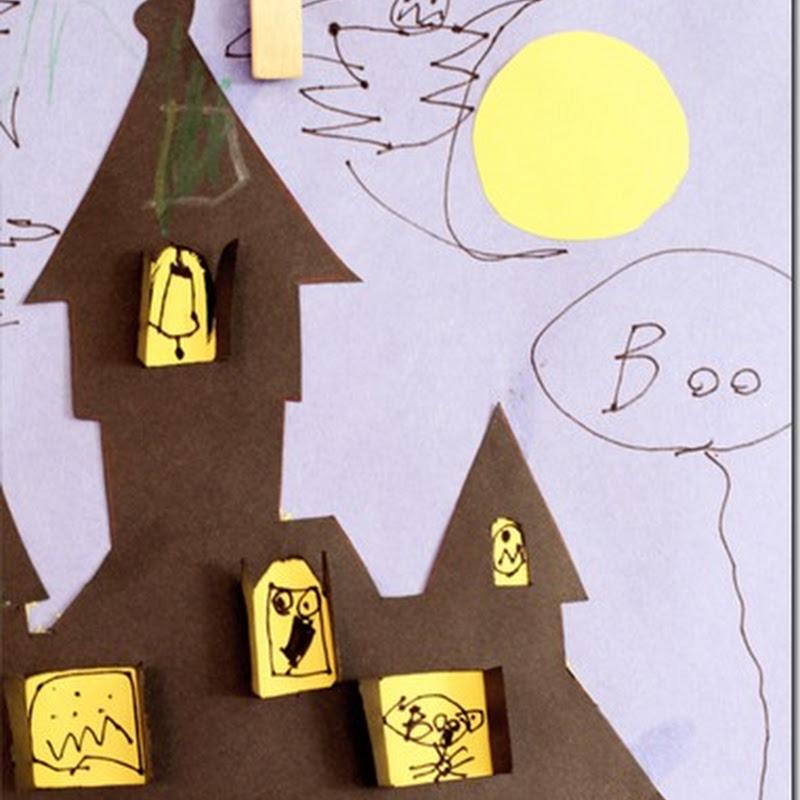 Plantilla casa encantada halloween, manualidades para niños