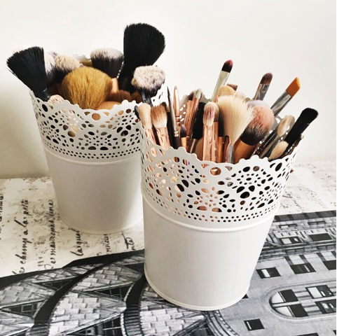 Ikea flowerpot makeup brushes