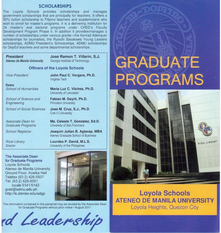 Gradute Programs Brochure for SY 2012 of Loyola Schools, Ateneo de Manila University
