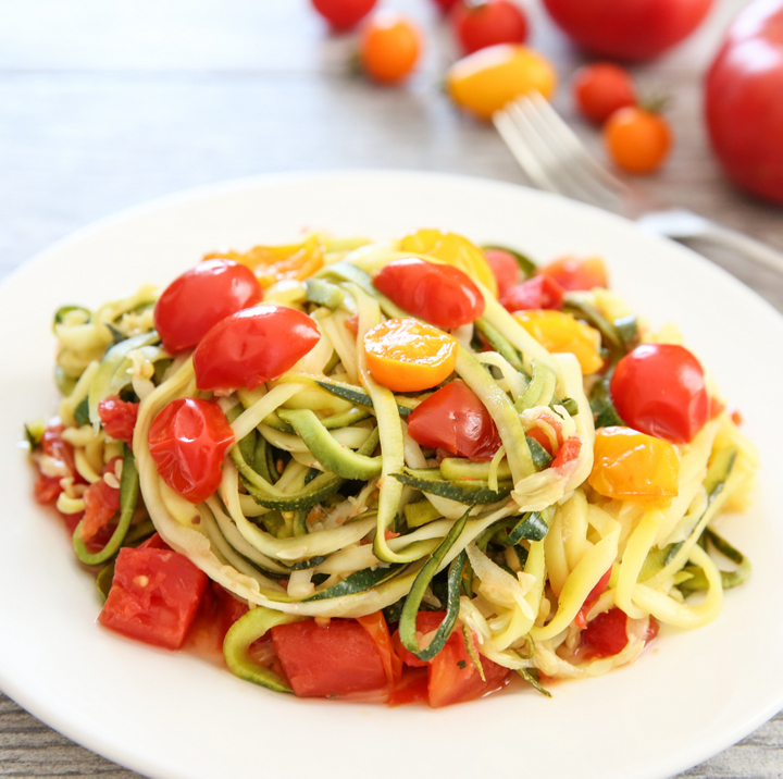 photo of a plate of One Pot Zucchini Noodles with Tomato Sauce