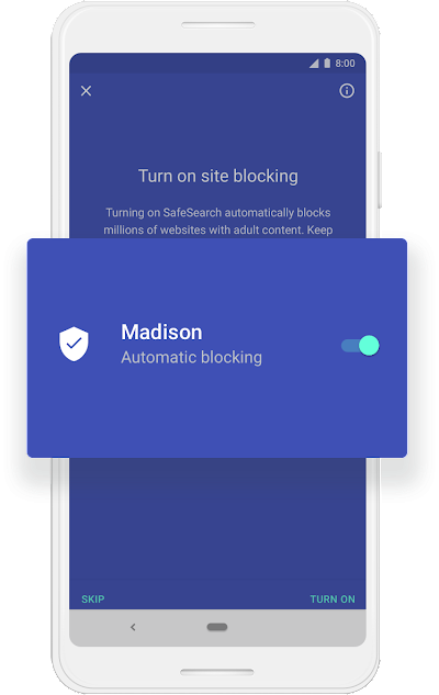 """A Google phone screen that shows that SafeSearch's automatic blocking is turned on for a child named Madison."