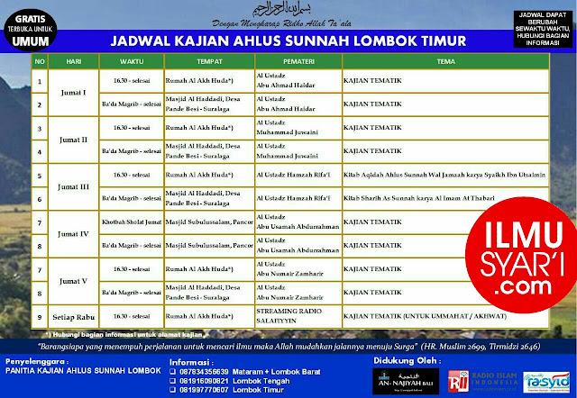 Informasi Jadwal Kajian Sunnah di Lombok Timur