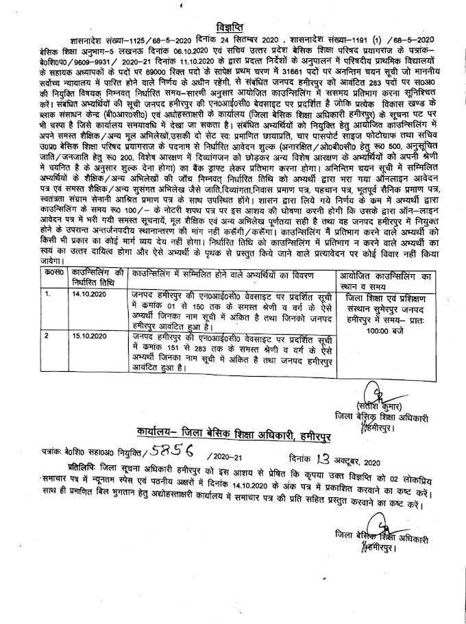 हमीरपुर:- 31277 शिक्षक भर्ती की काउंसलिंग के संबंध में आदेश व विज्ञप्ति जारी
