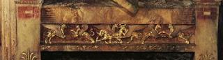έννοια τράπεζας,ξύλινο τραπέζι με σφίγγες,προφητείες ΕΛ.