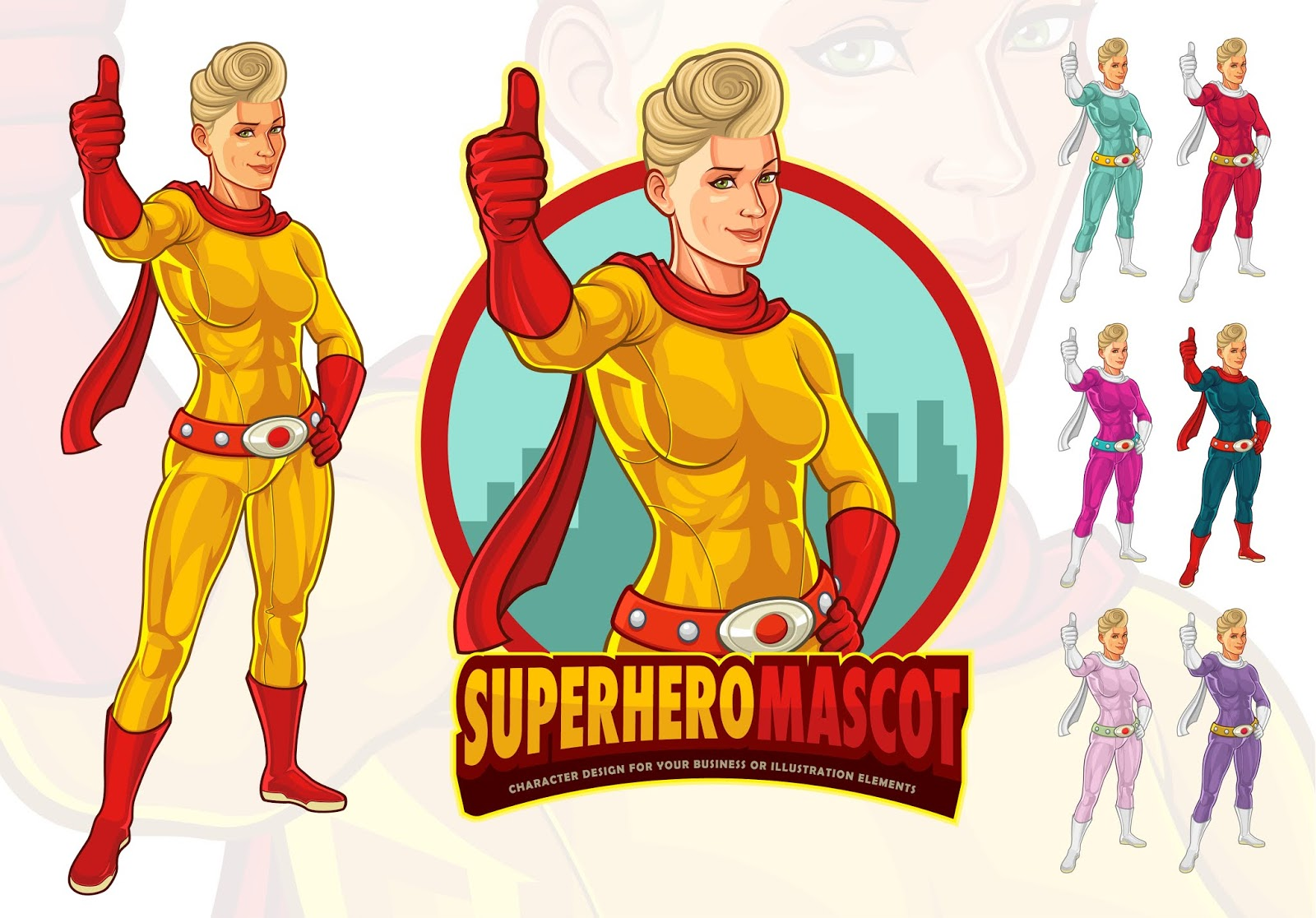 Female Superhero Mascot Company Free Download Vector CDR, AI, EPS and PNG Formats