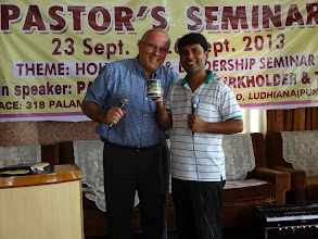 Photo: Honoring Pastor Pradeep with a small token of appreciation for his hard work in coordinating a MTM conference.