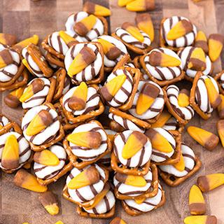 Caramel Candy Corn Pretzel Hugs