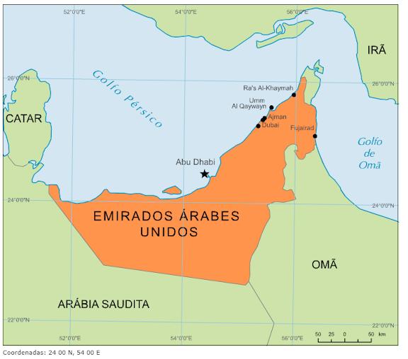 emirados arabes mapa Blog de Geografia: Mapa dos Emirados Árabes Unidos emirados arabes mapa