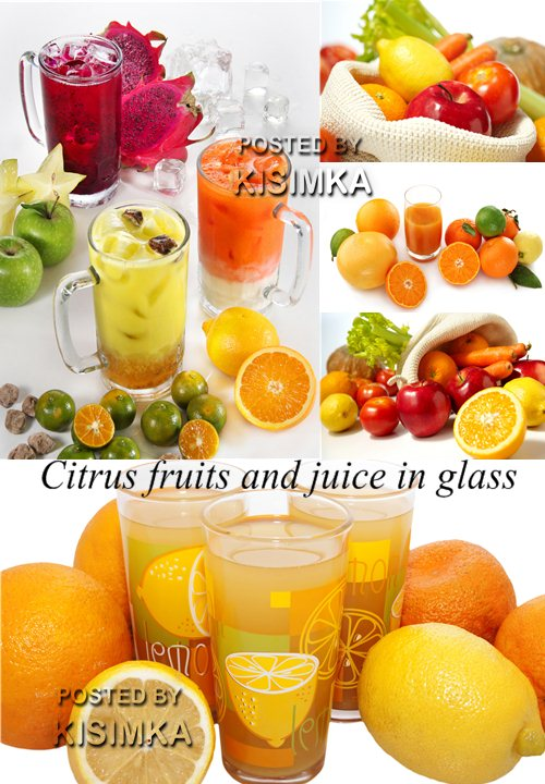 Stock Photo: Citrus fruits and juice in glass