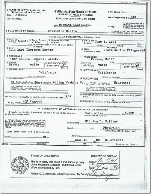 Birth Certificate Geraldine Martin