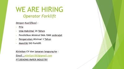 Lowongan Kerja Operator Forklift  PT. DEHONG PAPER INDUSTRY